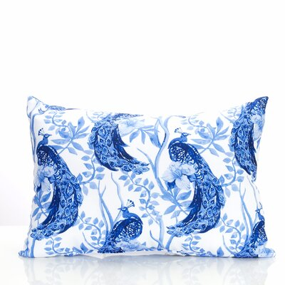 Peacock Outdoor Lumbar Pillow Color: Blue