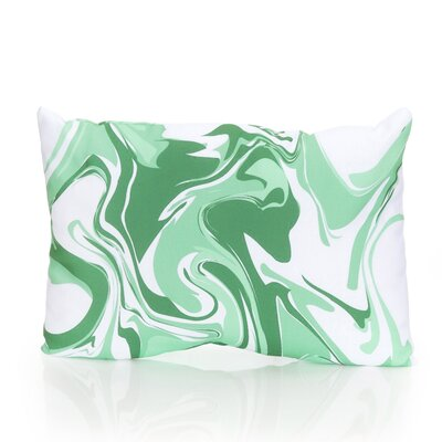 Swirl Marble Outdoor Lumbar Pillow Color: Kelly Green