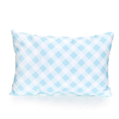 Check Plaid Outdoor Lumbar Pillow Color: Turquoise