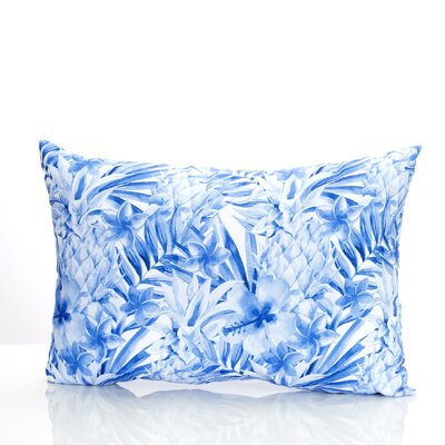Tropical Pineapple Outdoor Lumbar Pillow Color: Blue