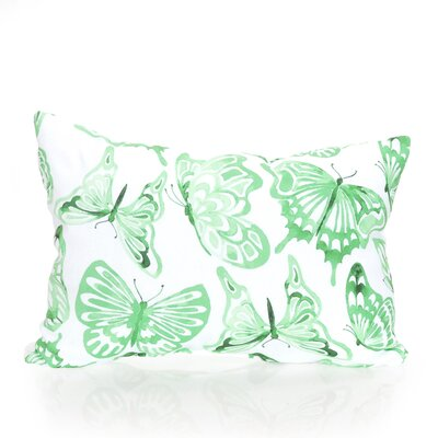 Watercolor Butterfly Outdoor Lumbar Pillow Color: Kelly Green