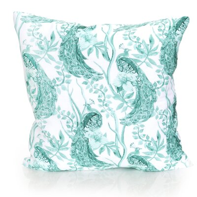 Peacock Outdoor Throw Pillow Size: 26 H x 26 W x 2 D, Color: Mint