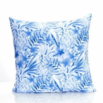 Tropical Pineapple Outdoor Throw Pillow Size: 20 H x 20 W x 2 D, Color: Blue