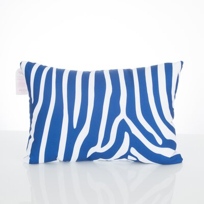 Zebra Outdoor Lumbar Pillow Color: Blue
