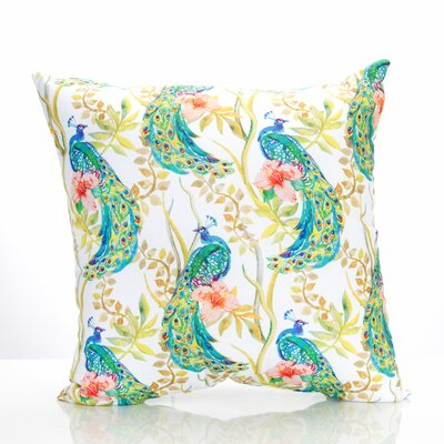 Peacock Outdoor Throw Pillow Size: 26 H x 26 W x 2 D, Color: Yellow/Blue