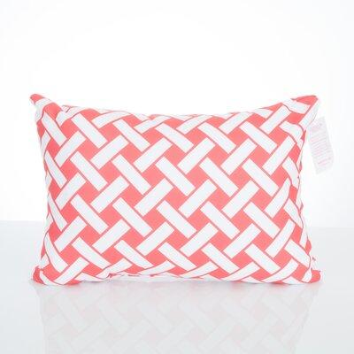 Lattice Outdoor Lumbar Pillow Color: Coral