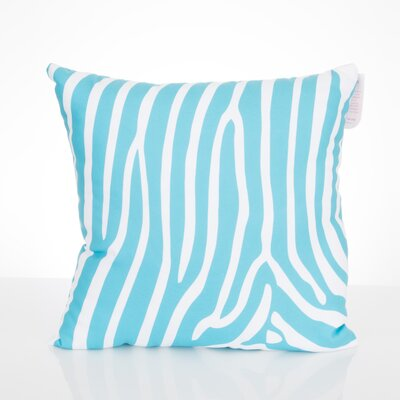 Zebra Outdoor Throw Pillow Size: 26 H x 26 W x 2 D, Color: Turquoise
