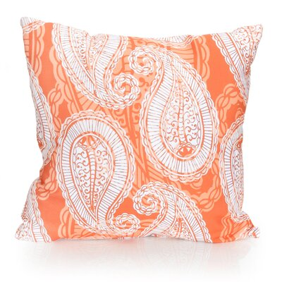 Paisley Outdoor Throw Pillow Size: 20 H x 20 W x 2 D, Color: Orange