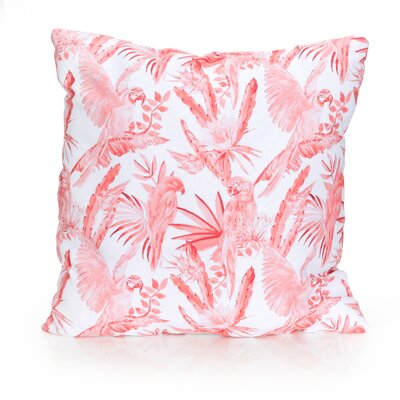 Tropical Parrot Outdoor Throw Pillow Size: 26 H x 26 W x 2 D, Color: Coral