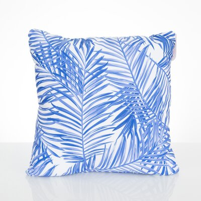 Palm Fronds Outdoor Throw Pillow Size: 20 H x 20 W x 2 D, Color: Blue