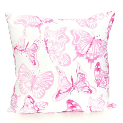 Watercolor Butterfly Outdoor Throw Pillow Size: 20 H x 20 W x 2 D, Color: Fuchsia
