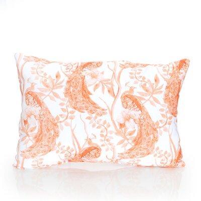 Peacock Outdoor Lumbar Pillow Color: Orange