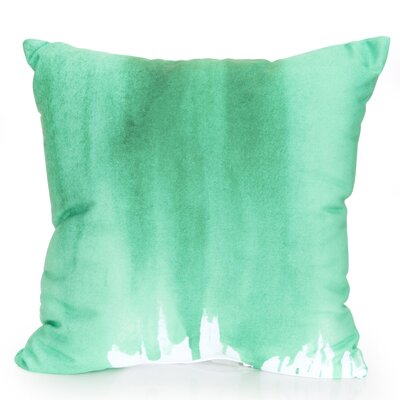 Ombre Watercolor Outdoor Throw Pillow Size: 26 H x 26 W x 2 D, Color: Kelly Green