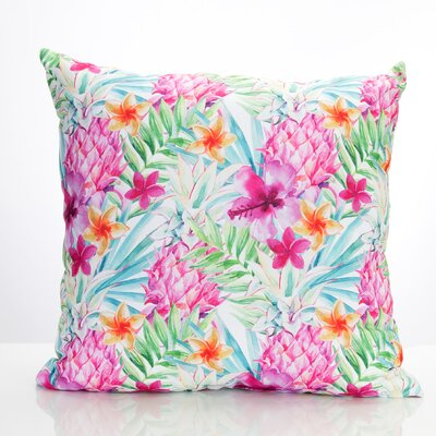 Tropical Pineapple Outdoor Throw Pillow Size: 26 H x 26 W x 2 D, Color: Pink/Green