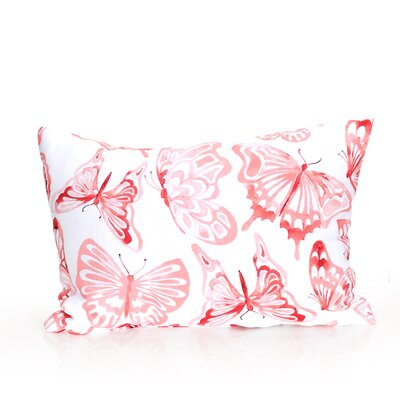 Watercolor Butterfly Outdoor Lumbar Pillow Color: Coral