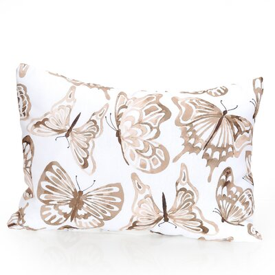 Watercolor Butterfly Outdoor Lumbar Pillow Color: Brown