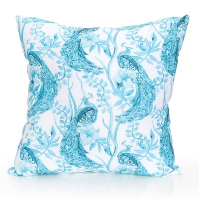 Peacock Outdoor Throw Pillow Size: 20 H x 20 W x 2 D, Color: Turquoise