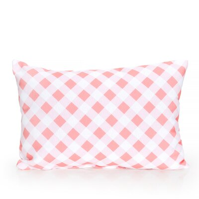 Check Plaid Outdoor Lumbar Pillow Color: Coral