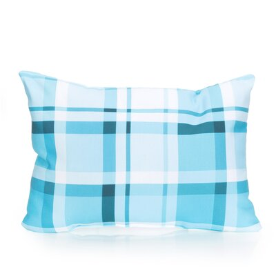 Plaid Outdoor Lumbar Pillow Color: Turquoise
