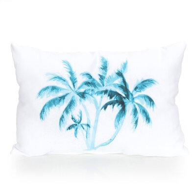 Palm Tree Outdoor Lumbar Pillow Color: Turquoise