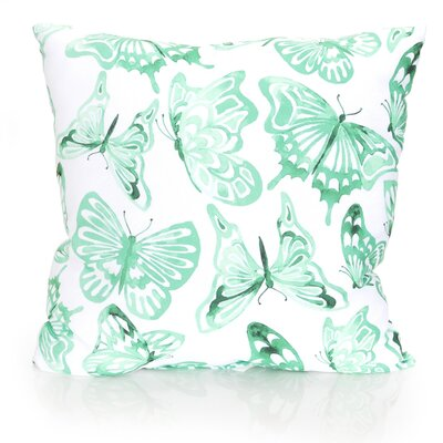 Watercolor Butterfly Outdoor Throw Pillow Size: 20 H x 20 W x 2 D, Color: Mint