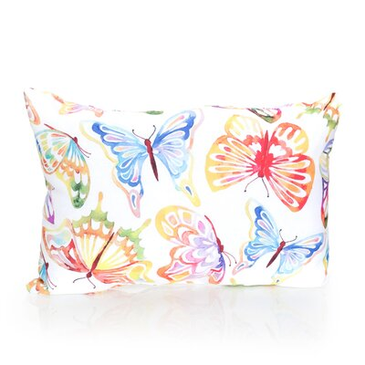 Watercolor Butterfly Outdoor Lumbar Pillow Color: Yellow/Blue