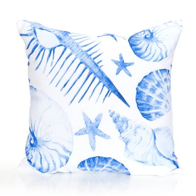 Sea Life Outdoor Throw Pillow Color: Blue, Size: 26 H x 26 W x 2 D