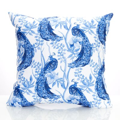 Peacock Outdoor Throw Pillow Size: 20 H x 20 W x 2 D, Color: Blue