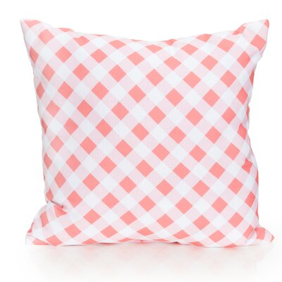 Check Plaid Outdoor Throw Pillow Size: 20 H x 20 W x 2 D, Color: Coral