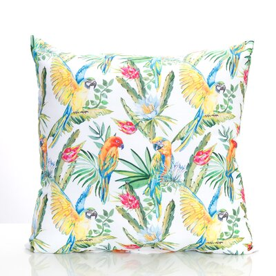 Tropical Parrot Outdoor Throw Pillow Size: 26 H x 26 W x 2 D, Color: Green/Yellow