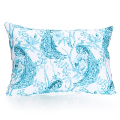 Peacock Outdoor Lumbar Pillow Color: Turquoise