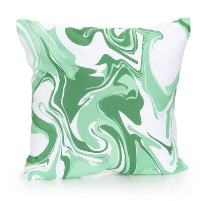 Swirl Marble Outdoor Throw Pillow Size: 20 H x 20 W x 2 D, Color: Kelly Green
