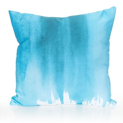 Ombre Watercolor Outdoor Throw Pillow Size: 20 H x 20 W x 2 D, Color: Turquoise
