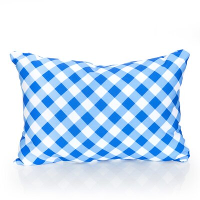 Check Plaid Outdoor Lumbar Pillow Color: Blue