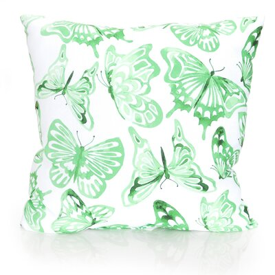 Watercolor Butterfly Outdoor Throw Pillow Size: 20 H x 20 W x 2 D, Color: Kelly Green