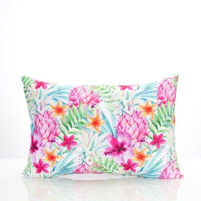 Tropical Pineapple Outdoor Lumbar Pillow Color: Pink/Green