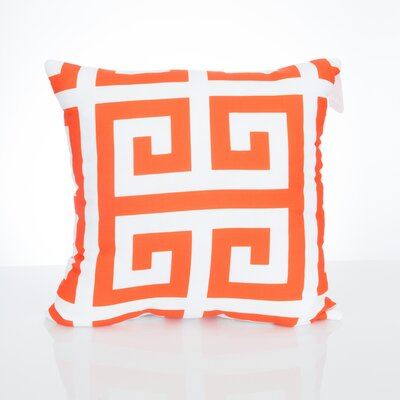 Greek Key Outdoor Throw Pillow Size: 26 H x 26 W x 2 D, Color: Orange