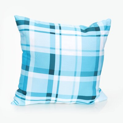 Plaid Outdoor Throw Pillow Size: 20 H x 20 W x 2 D, Color: Turquoise