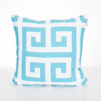 Greek Key Outdoor Throw Pillow Size: 26 H x 26 W x 2 D, Color: Turquoise