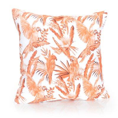 Tropical Parrot Outdoor Throw Pillow Size: 20 H x 20 W x 2 D, Color: Orange