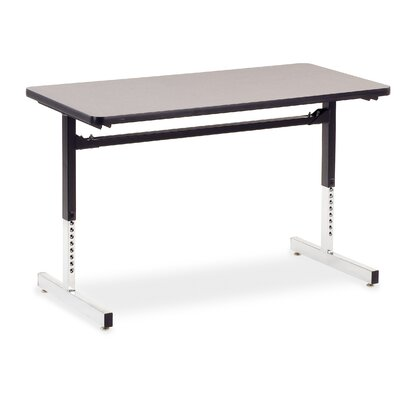 24 W 8700 Series Adjustable Training Table with Casters Tabletop Finish: Medium Oak/Black, Size: 48 W x 30 D