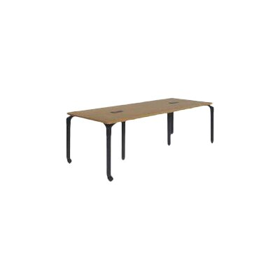Plateau Series 7.5 Rectangular Conference Table Frame Color: Char Black, Grommet Holes: 3 Grommet Holes, Table Color: Medium Oak