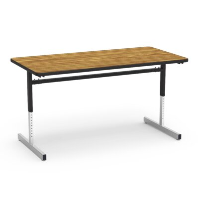 8700 Series Height Adjustable Training Table with Casters Tabletop Finish: Walnut/Black, Size: 30W x 72D