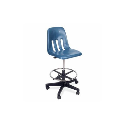 9000 Series Mid-Back Drafting Chair Frame Color: Black, Seat Color: Red Product Image 4163