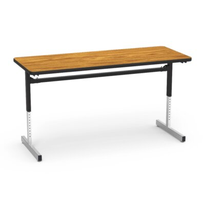 8700 Series Height Adjustable Training Table with Casters Tabletop Finish: Medium Oak/Black, Size: 48 W x 60 D