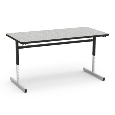 8700 Series Height Adjustable Training Table with Casters Tabletop Finish: Grey Nebula/Black, Size: 24 W x 60 D