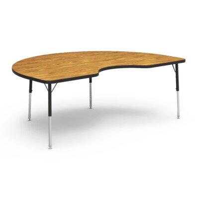 "4000 Series 72"" x 48"" Kidney Activity Table Tabletop Finish: Oak, Side Finish: Black TABLE-48KID72LO-OAK084BLK01-BLK01"