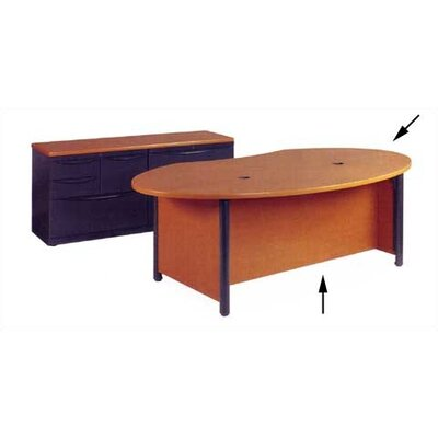 Plateau Series Executive Ellipse Desk Shell Leg Color: Char Black, Top/Side Color: Fusion Maple Product Picture 173
