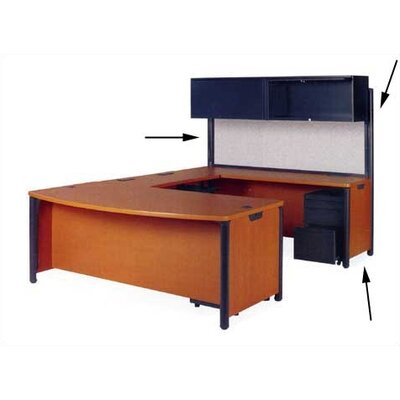 Plateau Office Series Credenza Leg Color: Char Black, Top/Side Color: Carmel Sagawood