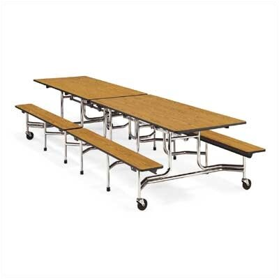 Rectangular Cafeteria Table Tabletop Color: Medium Oak, Size: 96'' x 30'' TABLE-MTB17298-OAK084BLK01-CHRM